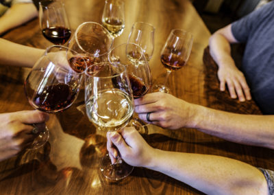Four wines over Mari Villa table BW0T2793 web
